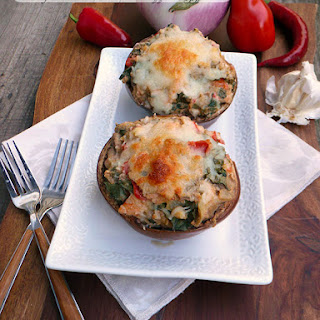 Cheesy Seafood Kale Stuffed Eggplant