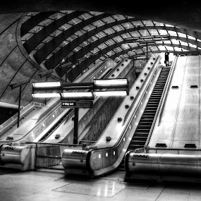 canary wharf tube station by Kevin Towler - Buildings & Architecture Other Interior ( england, uk, structure, building, london, hdr, black and white, tube, underground,  )