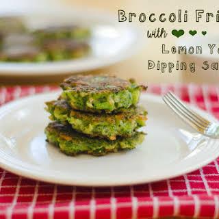 Broccoli Fritters With Lemon Yogurt Dipping Sauce.