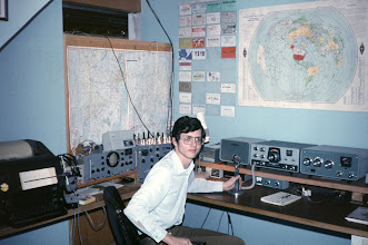 Photo: Now WB2AEH, around 1971 or 1972 after moving to NJ.  Added an SB-200 amplifier.  R-390 receiver and Model 15 teletype provided by Navy MARS.
