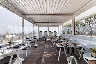 Photo: Ristorante Asola @ The Brian & Barry Building. Vetrate pieghevoli Giemme System , Saliscendi BellaVista Plus