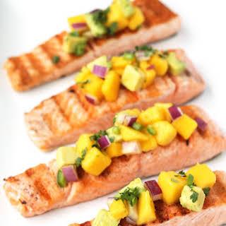 Grilled Salmon w/ Spicy Mango Salsa.