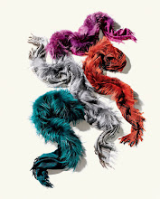 Photo: GUCCI Survie fox (Finland) scarf in dyed pink, grey, orange or teal Survie fox (Finland) scarf. $645. Also available in black or brown. Italy. Main Floor. 212 872 2568