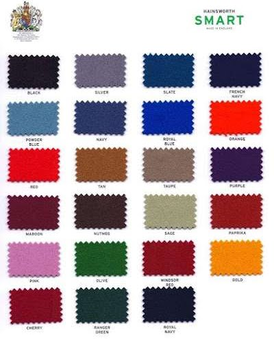 Various colour options for pool table felt