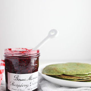 Matcha Crepes with Raspberry Preserves.