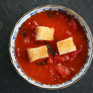 Stewed Tomatoes with Butter Toasted Croutons.