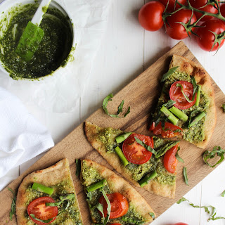 Pesto Naan Pizza with Roasted Tomatoes & Asparagus