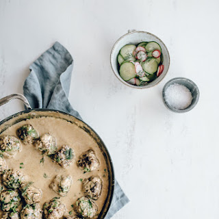 Swedish Meatballs with Cucumber & Radish Pickles