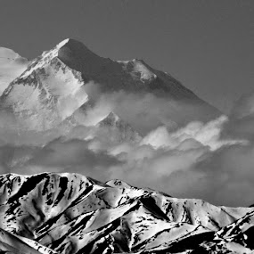 Denali by Rebecca Weatherford - Landscapes Mountains & Hills ( clouds, mountains, sky, mountain, denali, black and white, snow, light, shadows )