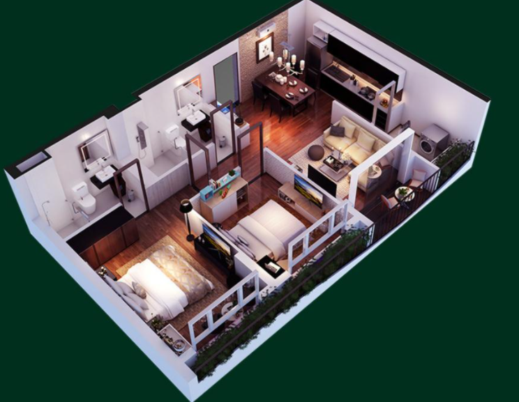 Phối cảnh căn hộ D Aqua