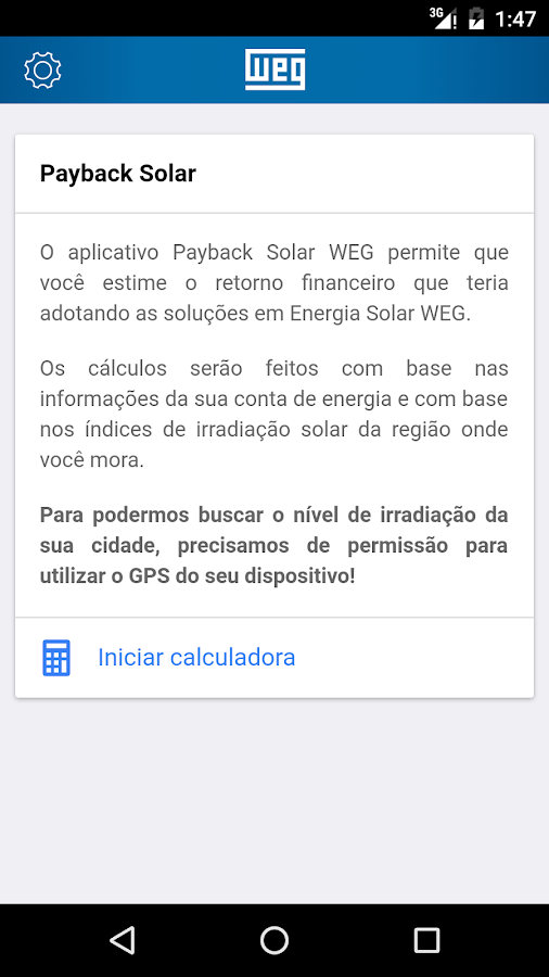 Payback Solar: captura de tela