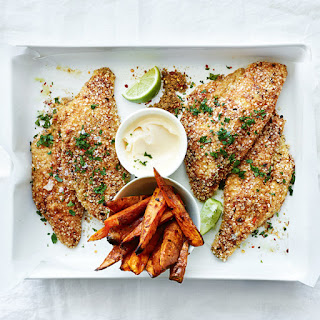 Quinoa, Lime and Chili-Crumbed Snapper With Sweet Potato Wedges