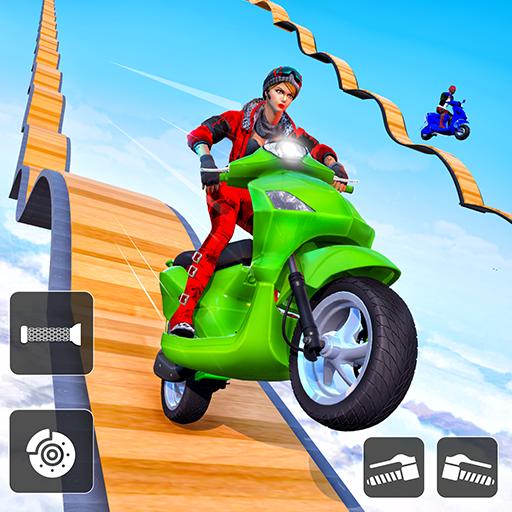 Scooter Stunts 3D: Mega Ramp Stunt Bike Game