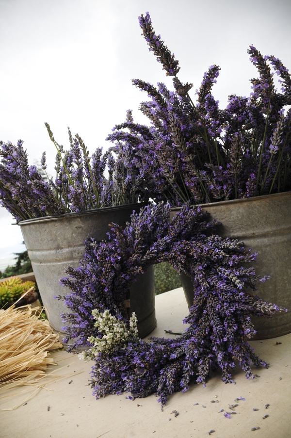 Photo: A completed lavender wreath. PHOTO CREDIT: Ali'i Kula Lavender/The Maui Book of Lavender.