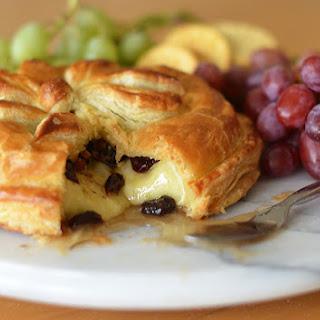 Baked Brie en Croûte with Honey, Dried Cherries, Pecans & Rosemary.