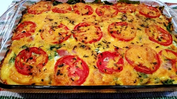 Place in oven and bake for 40 - 45 minutes or until all egg...