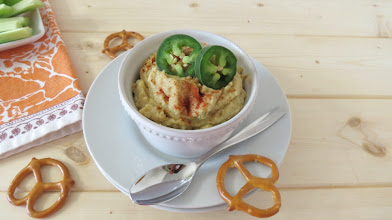 Photo: Jalapeno and Artichoke Hummus - A spicy, healthy hummus dip made with pickled jalapenos and artichoke hearts. Perfect for dipping pretzels and veggies in.  http://www.peanutbutterandpeppers.com/2013/04/03/jalapeno-and-artichoke-hummus/  #hummus   #artichokes   #jalapenos   #garbanzobeans   #dips