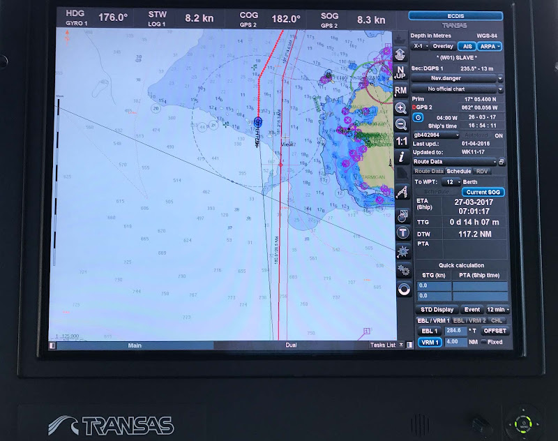 A Transas Marine navigation unit on Wind Surf.