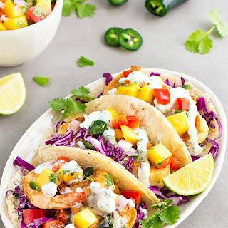 Spicy Shrimp Tacos with Mango Salsa.