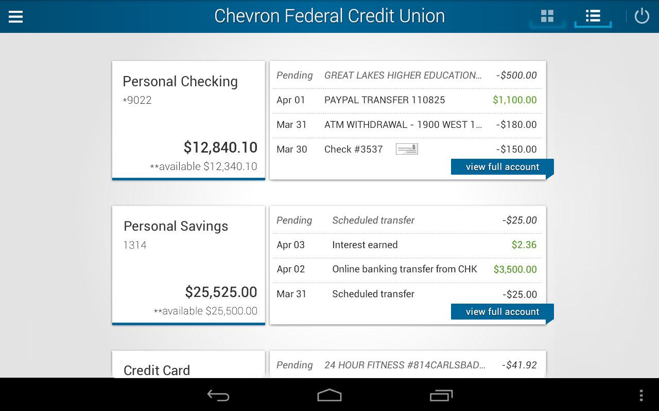 Chevron FCU Mobile Banking- screenshot