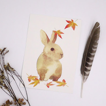 #rabbit #animalpostcard #animal #lovely #lovelyrabbit #feather #angel #fallingleavesstudio