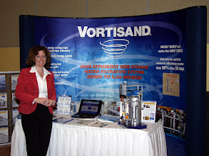 Photo: Martine Menard of Sonitec with their Vortisand Display