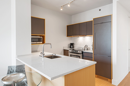 Full kitchen at 1 Bedroom Luxury Apartment in Brooklyn
