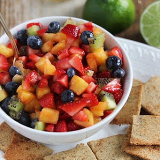Honey Lime Fruit Salad with Paleo Cinnamon Sugar Chips.