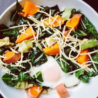 Sauteed Garlic Mustard Greens with a Poached Egg