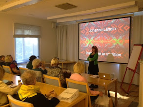 Photo: Johanne Ländin höll både workshop och här föredrag om den svenska sticktraditionen.