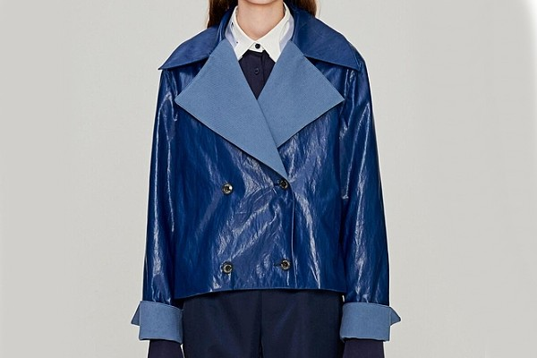 Moon Lee Faux Leather Jacket in Blue from W Concept
