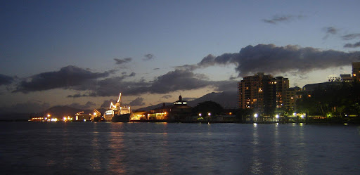 Australia-Cairns-waterfront - The wharves of Cairns, Queensland, Australia, at night. The casino's dome can be seen in the background.