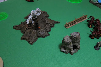 Photo: Turn 3 - end of Dark Angels turn - All but one of the Dark Angel troops is gone, and another Terminator has been killed, but the Archon stands alone, down to a single wound...