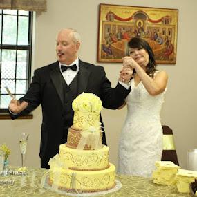 Antics only just began by Terri Moore - Wedding Bride & Groom