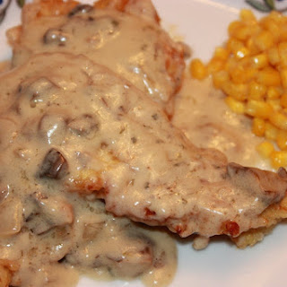 Chicken Cutlets with Mushroom and Onion Cream Sauce