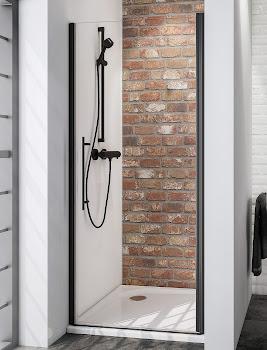 Porte de douche pivotante en niche, 70, 80, 90 ou 100 cm, style industriel, profilé noir