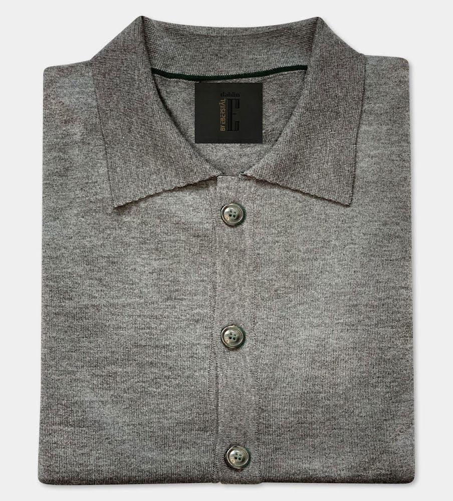 Gatsby - Overshirt Merino Cardigan med krage - Grå