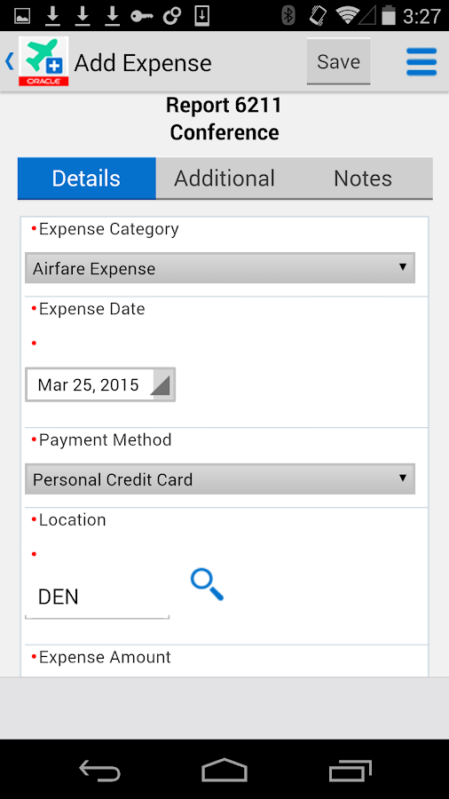 Expense Entry for JDE E1- screenshot