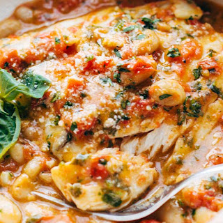 Garlic Basil Barramundi Skillet with Tomato Butter Sauce.