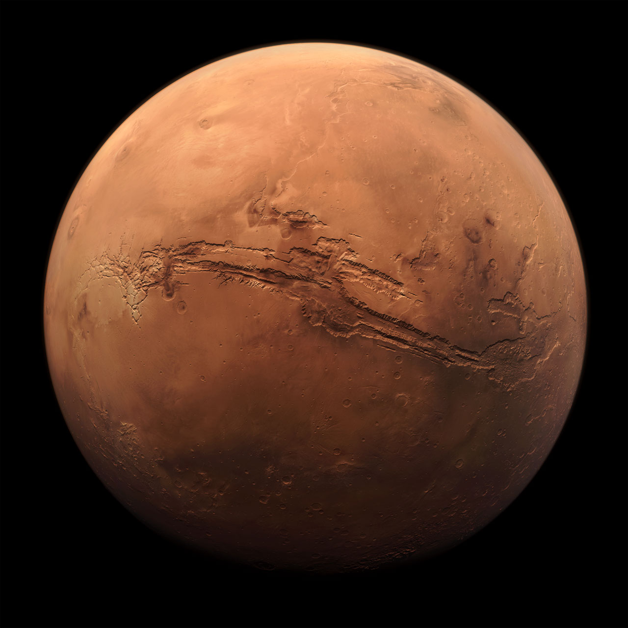 Planet Mars showing Valles Marineris
