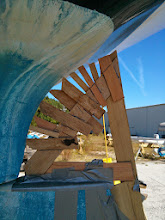 Photo: due to the curvature of the hull the lower forward section of the rudder addition is defined when the rudder is turned approx 25 degress