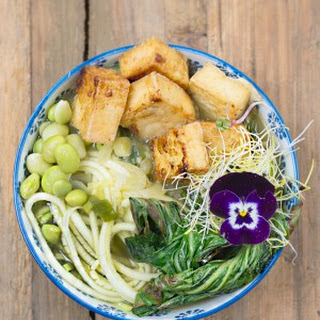 Crispy Tofu and Zoodles Soup.