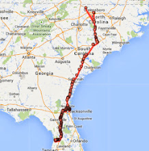Photo: 543 miles covered from NC to FL. There is a slight blip from Google at the top - I don't know what that's about. :-)