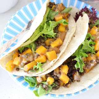 Butternut and Lentil Tacos with Tahini-Miso Sauce