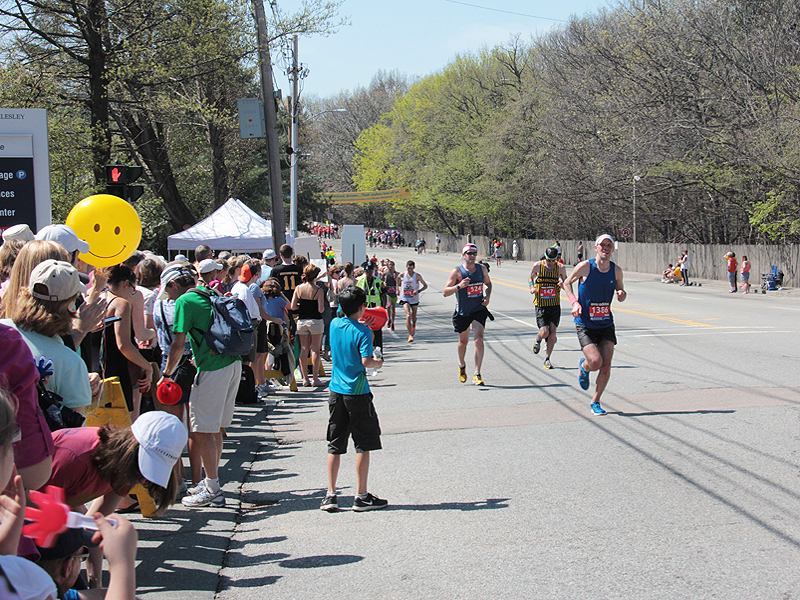 Photo: Spectators cheered on the runners at mile 17 outside of Newton-Wellesley Hospital.