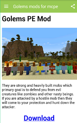 android Golems mods for mcpe Screenshot 1
