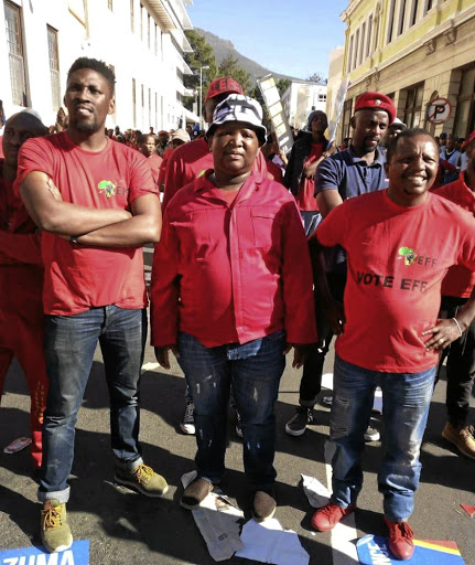 Eff councillors who are all accused of defrauding the EFF. From left is Silas Ncedo, Ebby Mfutwana and Melikhaya Xhego.