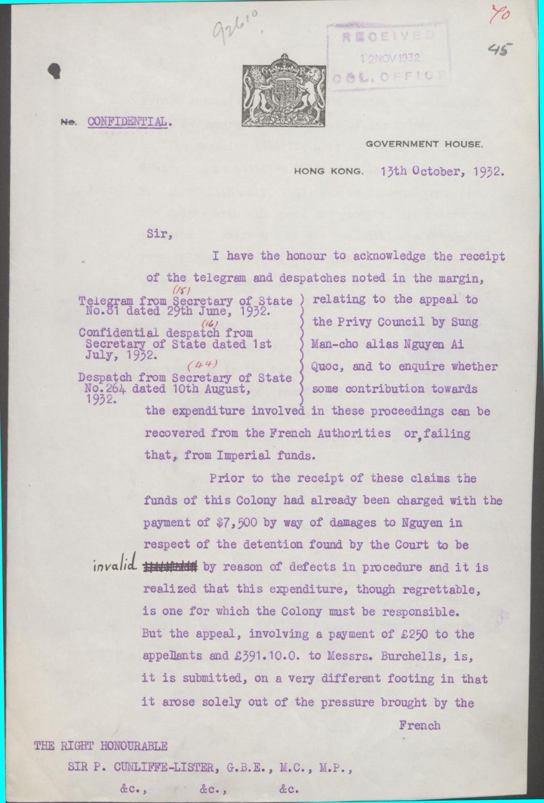Thư của chánh quyền Hồng Kông gởi Bộ Thuộc địa 13-10-1932 (trang 1).jpg