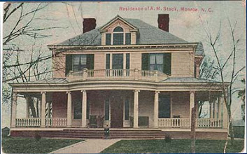 Photo: 1915postmark - 316 East Windsor St. (now the site of the public library). This house was built about 1910. Judge Amos M. Stack (1863-1937) married Charity Prather (1869-1923) in1892. They moved to this site in Monroe in 1899 with their first 4 children. About 10 years later they moved that house down the hill next door and built this home. The old house was moved in two parts to get around a big walnut tree.