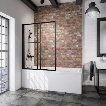 Pare baignoire coulissant rabattable, 70-118 x 140 cm, 2 volets, transparent, profilé noir mat